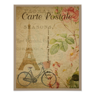 Parisian Vintage With Eiffel Tower Poster