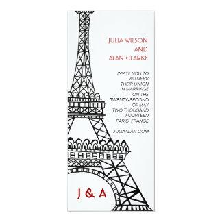 Parisian Wedding Invitation Red Black Eiffel Tower