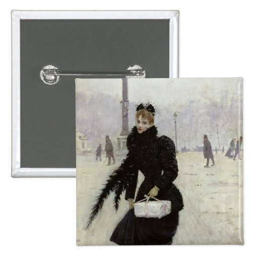 Parisian woman in the Place de la Concorde Button