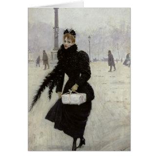 Parisian woman in the Place de la Concorde Cards