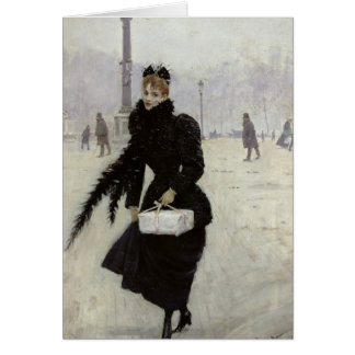 Parisian woman in the Place de la Concorde Greeting Card