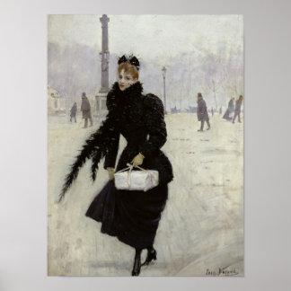 Parisian woman in the Place de la Concorde Print