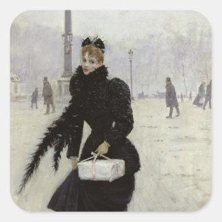 Parisian woman in the Place de la Concorde Square Stickers
