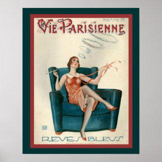 "Parisienne  Art Deco ""Smoke Rings""  1929 Print"