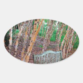 Park Bench 1 Oval Sticker