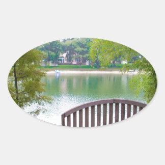 Park Bench 2 Oval Sticker
