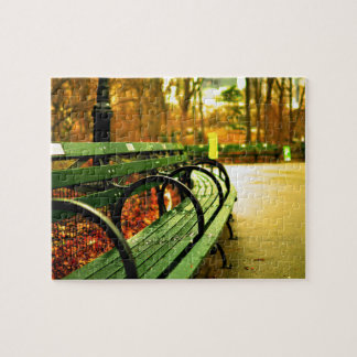Park Bench Central Park in Fall Puzzle