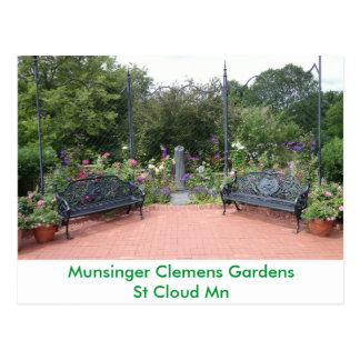 Park Benches in Munsinger Clemens Gardens Postcard