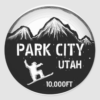 Park City Utah black white snowboard art stickers