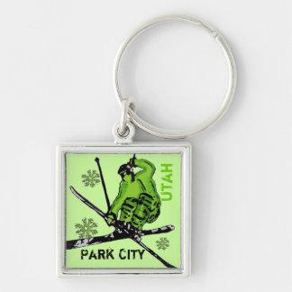 Park City Utah green theme skier keychain