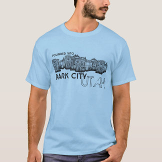 Park City Utah old town buildings guys blue tee