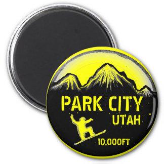 Park City Utah yellow snowboard art magnet