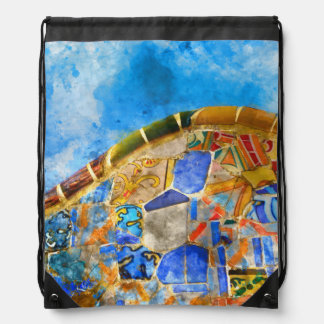 Park Guell in Barcelona Spain Drawstring Bag