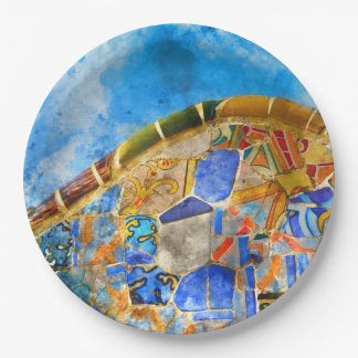 Park Guell in Barcelona Spain Paper Plate