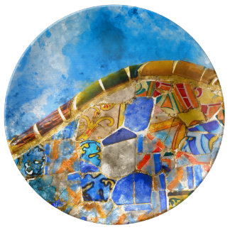 Park Guell in Barcelona Spain Plate