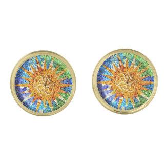 Park Guell mosaics Gold Finish Cuff Links