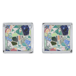 Park Guell mosaics Silver Finish Cuff Links