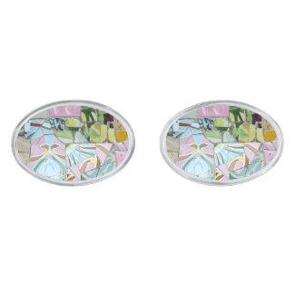 Park Guell mosaics Silver Finish Cufflinks