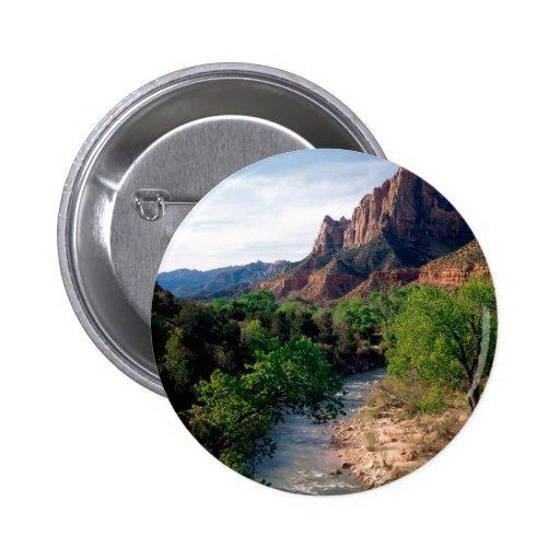 Park Virgin River The Watchman Zion Utah Pinback Buttons