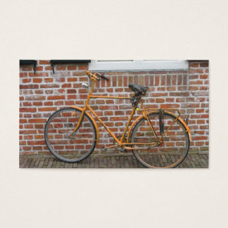 Parked Bicycle and a Brick Wall Small Photo Card