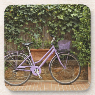 Parked bicycle, Pienza, Italy, Tuscany Beverage Coaster
