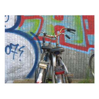Parked Bicycles Graffiti Postcard