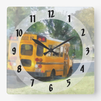Parked School Bus Square Wall Clock