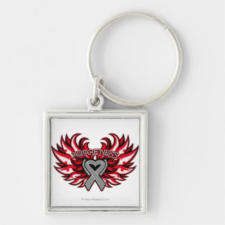 Parkinson's Disease Awareness Heart Wings.png Silver-Colored Square Key Ring