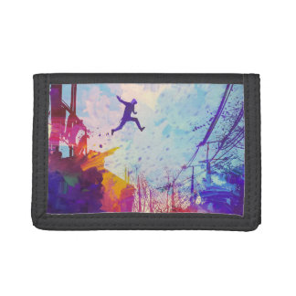 Parkour Urban Free Running Free-styling Modern Art Tri-fold Wallets