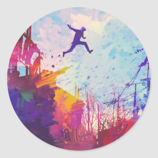Parkour Urban Free Running Freestyling Modern Art Classic Round Sticker