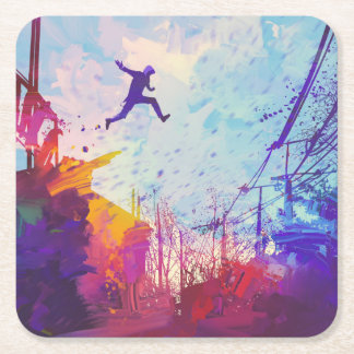 Parkour Urban Free Running Freestyling Modern Art Square Paper Coaster