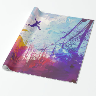 Parkour Urban Street Free Running Modern Art Wrapping Paper