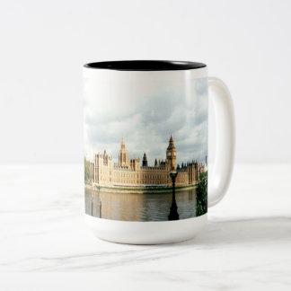 Parliament London Big Ben Thames, Landscape Two-Tone Coffee Mug