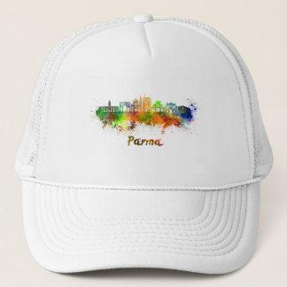 Parma skyline in watercolor trucker hat