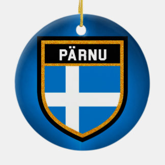 Pärnu Flag Ceramic Ornament