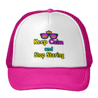 Parody Hipster Keep Calm And Stop Staring Mesh Hats