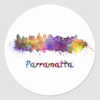 Parramatta skyline in watercolor round sticker