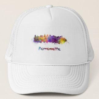 Parramatta skyline in watercolor trucker hat
