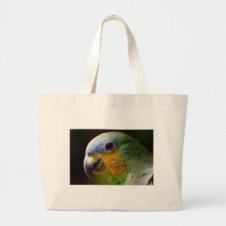Parrot Amazon Animals Bird Green Exotic Bird Large Tote Bag