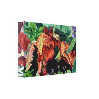 Parrot and Pansies Canvas Print