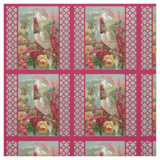 Parrot and Quatrefoil Brilliant Fabric