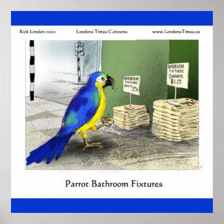 Parrot Bathroom Fixtures Fine Art Funny Posters