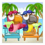 Parrot Beach Party Invitation - SRF 13 Cm X 13 Cm Square Invitation Card