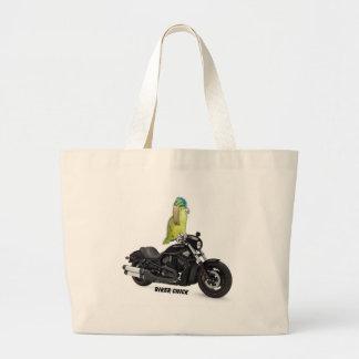 Parrot Biker Chick on Harley Davidson Bags