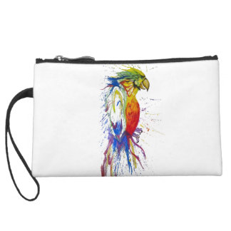 Parrot Bird Animal Suede Wristlet