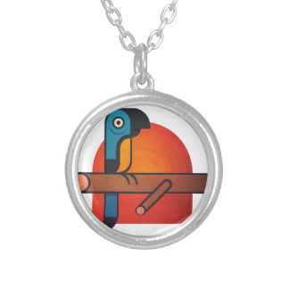 Parrot cartoon art silver plated necklace