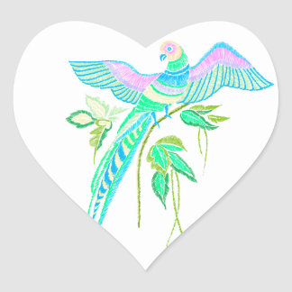 Parrot embroidery heart sticker