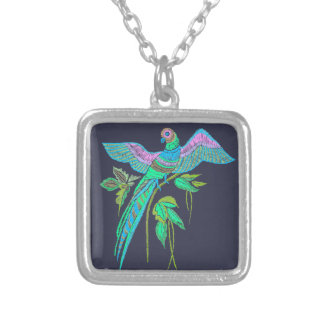 Parrot embroidery silver plated necklace
