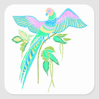 Parrot embroidery square sticker