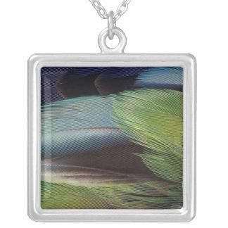 Parrot feather pattern design square pendant necklace